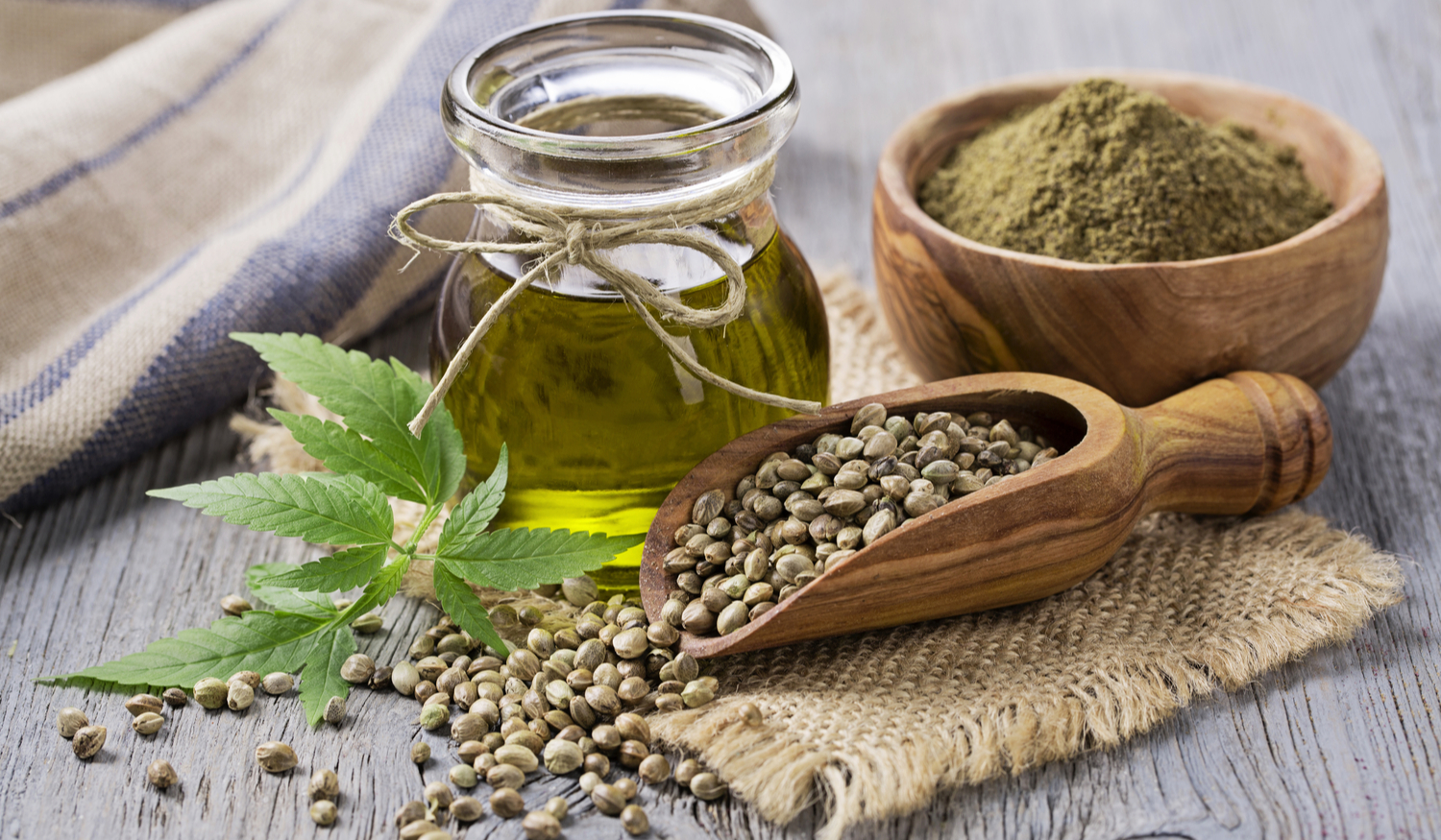 Photo of hemp oil and seeds