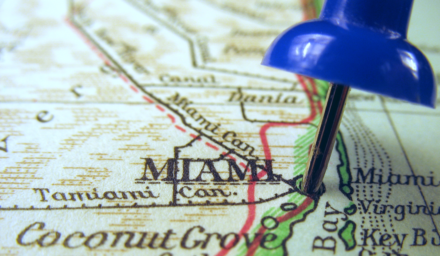 Map with Pin on Miami