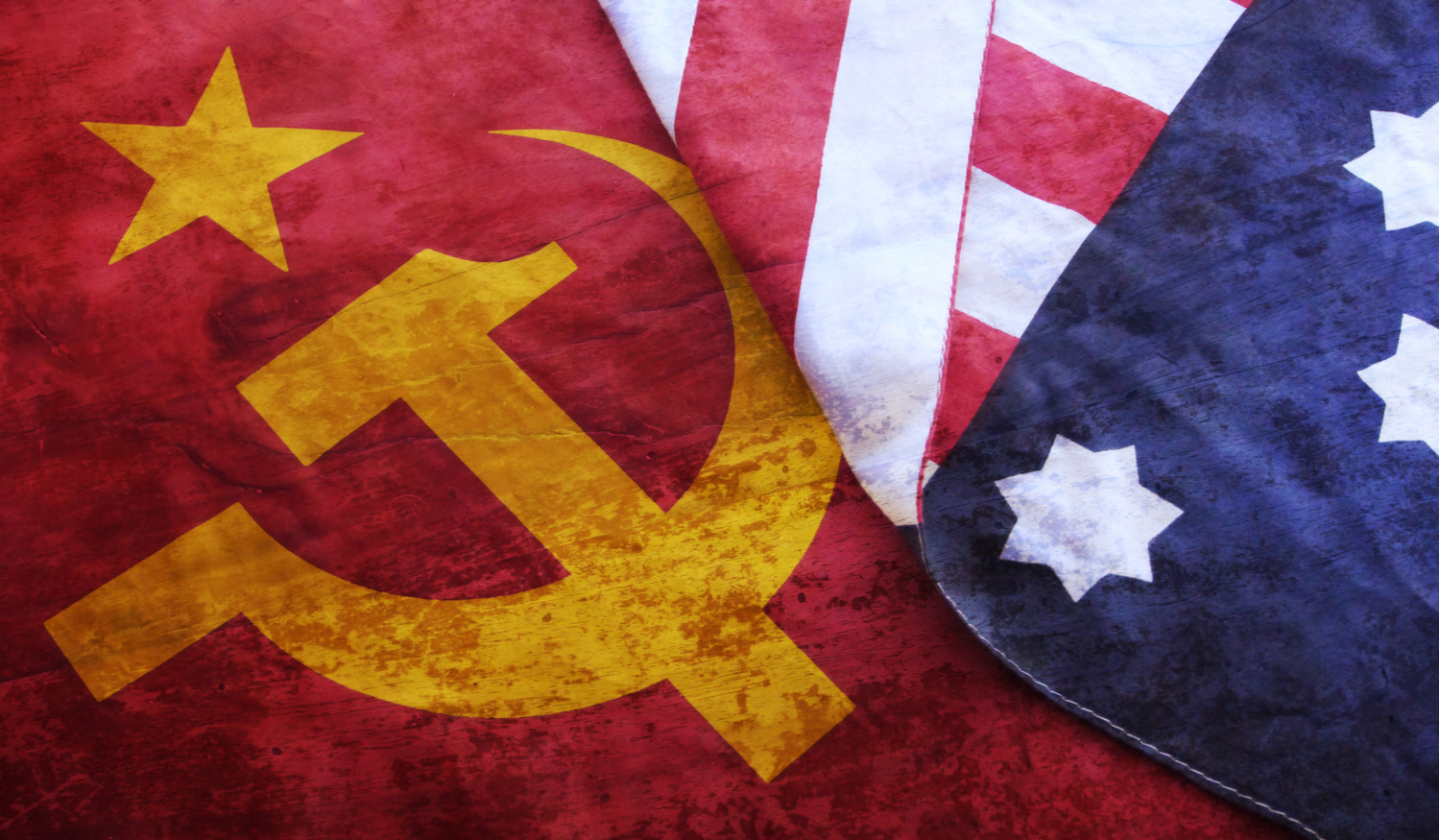 American and Soviet flag