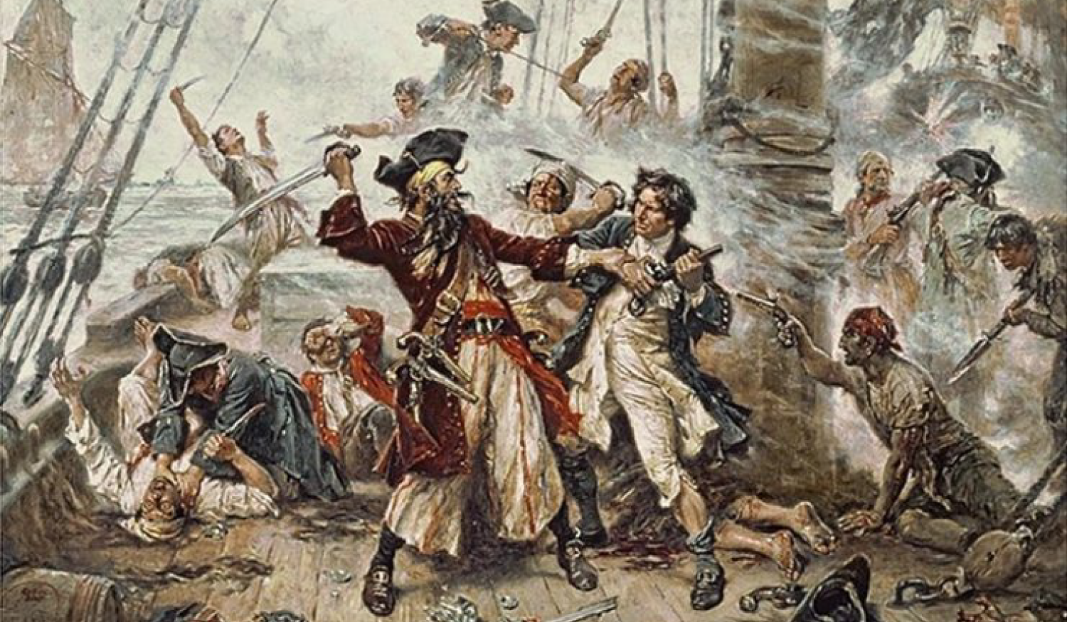A painting depicting the death of infamous pirate Blackbeard